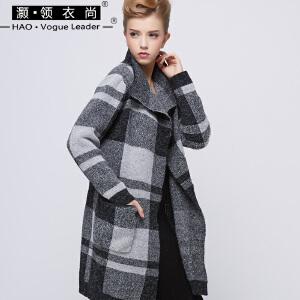 灏领衣尚黑白格子外套大翻领毛呢开衫中长款茧型羊毛大衣女装促销
