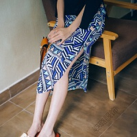 2018夏季复古雪纺开叉半身裙波西米亚印花度假沙滩长裙 蓝色