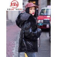 2018冬季新款亮面羽绒服女短款韩版时尚面包服大毛领宽松外套连帽