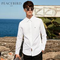 太平鸟男装 秋季新款白色胸针装饰印花衬衣纯棉韩版潮流长袖衬衫