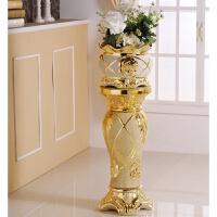 欧式落地客厅奢华大花瓶陶瓷欧式罗马柱落地大型客厅创意电镀金砂花瓶摆件装饰