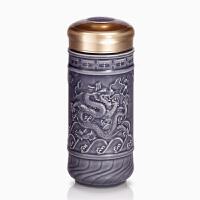 乾唐轩活瓷杯九龙壁盛世龙随身杯陶瓷水杯子带盖