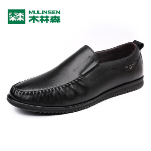 木林森男鞋 春季新款休闲商务皮鞋真皮透气软底黑色平跟系带单鞋05177350BK