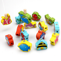 早教益智力立体大号钓鱼串珠磁性木制穿线珠子积木玩具幼儿童