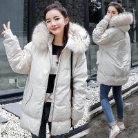 羽绒女2018新款韩版中长款冬季女装棉衣外套冬装加厚棉袄衣服 白色 M