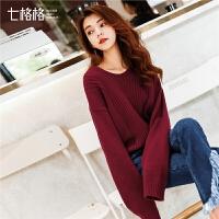 红色宽松V领毛衣女2018秋冬季装新款韩版百搭学生长袖针织打底衫