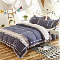 四件套简约纯色1.8m双人床上用品床单被套被罩简约床裙欧式1.5米床上用品