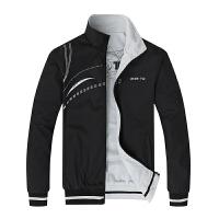 春秋季男士薄款外套工作服休闲运动上衣两面穿宽松加大码夹克单衣 黑色 5868