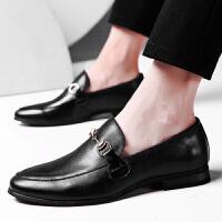 休闲皮鞋男士皮鞋韩版套脚真皮男鞋英伦时尚休闲方头皮鞋乐福鞋懒人鞋 pz 2312黑色
