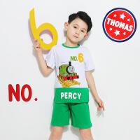 【8.20每满100减50】托马斯正版童装男童夏装时尚印花短袖T恤+短裤套装两件套正版授权(三色可选)