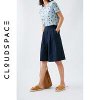 云上生活2019夏新款直筒裤子五分裤气质休闲裤女宽松K5832
