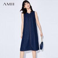 Amii[极简主义]2017夏装新款大码无袖丹宁V领牛仔连衣裙11733225