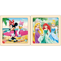 迪士尼拼图玩具 9片木制框拼标准版二合一(米妮2667+公主2669)