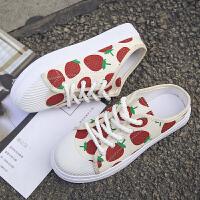 草莓涂鸦帆布鞋女学生2019夏新款外穿中跟松糕厚底时尚百搭低帮鞋夏季百搭鞋