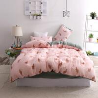 水洗棉床上四件套宿舍床单三件套学生单人床被套家纺 加大四件套220*240cm 床单245*250