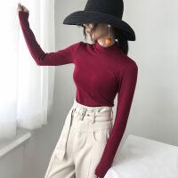 秋冬黑色打底衫女长袖t恤半高领修身内搭秋衣中领纯棉紧身上衣潮