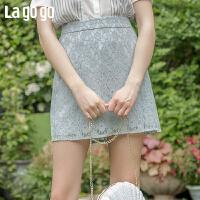 【秒杀价59】Lagogo/拉谷谷2019新款木耳边网纱拼接装饰半裙女IABB194C66
