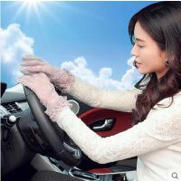 夏天女士新款蕾丝分指防晒手套开车防滑防紫外线短款手套薄