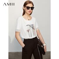 Amii抽象印花短袖T恤2021夏新款宽松纯棉拉架拼网纱假两件上衣
