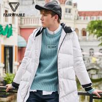 马克华菲羽绒服男中长款2018冬季新款白色保暖青年休闲夹克外套