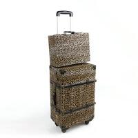 2018新款英伦复古旅行箱行李箱登机箱 万向轮密码锁拉杆箱 豹纹皮箱 如图