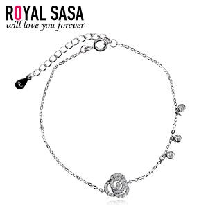 皇家莎莎925银玫瑰花朵细手链女日韩版简约百搭个性甜美饰品送女友礼物