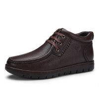 骆驼牌男靴子 冬季新品保暖绒里系带皮靴柔软牛皮耐磨男鞋