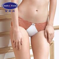 安莉芳女士内裤性感色丁蕾丝舒适中低腰包臀三角裤E19731
