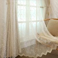 窗帘绣花北欧简约现代清新浮雕客厅卧室遮光纱帘成品
