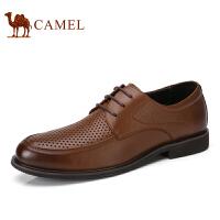 camel骆驼男鞋 春季新品 牛皮系带商务镂空 透气男士皮鞋