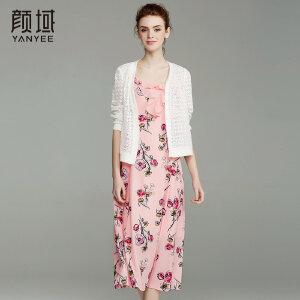 颜域品牌女装2018春夏新款简约七分袖短外套蕾丝几何镂空外披开衫