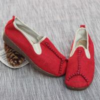 大理麻鞋民族风亚麻鞋草编鞋复古麻鞋手工草鞋坡跟文艺范夏情侣鞋 红色 女款 801坡跟