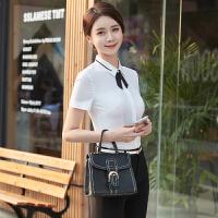短袖衬衫女工作服夏季韩版修身显瘦百搭大码面试正装职业装白衬衣