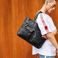 商务公文包潮流时尚韩版男包 商务休闲公文包 青年横款手提包单肩包斜跨包潮 黑色