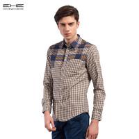 EHE春季男士修身格纹长袖衬衫66102143017