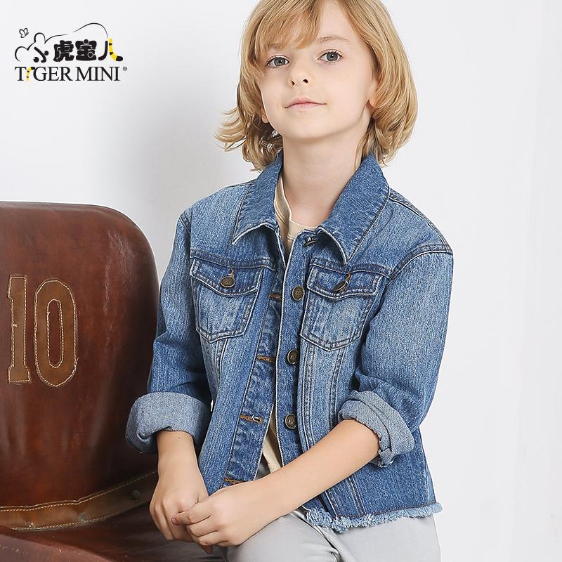 小虎宝儿童装男童牛仔外套儿童韩版夹克衫中大童上衣2018春款新品
