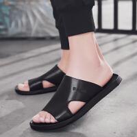 拖鞋男夏时尚外穿凉鞋潮流韩版个性一字拖男士沙滩鞋耐穿室外凉拖夏季百搭鞋 黑色
