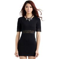 秋冬季新款韩版针织衫修身显瘦中长款套头毛衣女打底衫长袖拼接蕾丝连衣裙