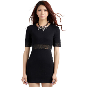 春夏季新款韩版针织衫修身显瘦中长款套头毛衣女打底衫短袖拼接蕾丝连衣裙