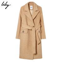 【25折到手价:419元】 Lily冬帅气修身中长款过膝羊毛大衣厚款毛呢外套1935