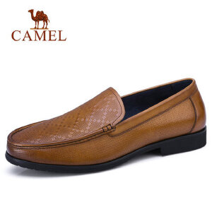 camel 骆驼男鞋2018新品乐福鞋男正装商务皮鞋套脚牛皮男鞋懒人鞋