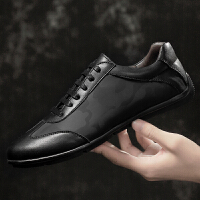 夏季新款男士休闲皮鞋小黑鞋轻质平底舒适驾车鞋圆头透气布鞋男鞋夏季百搭鞋
