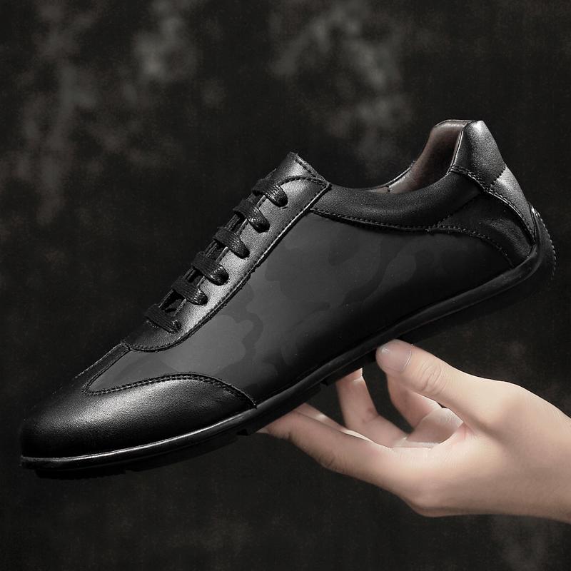 夏季新款男士休闲皮鞋小黑鞋轻质平底舒适驾车鞋圆头透气布鞋男鞋夏季百搭鞋 精挑细选