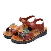 夏季妈妈凉鞋女平跟中老年女士凉鞋新款女式凉拖鞋女