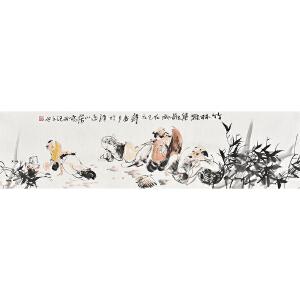 当代画家梁煜136 X 35CM人物画gr01459