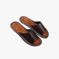 当当优品 真皮牛皮拖鞋 真皮压花底 舒适脚感居家休闲皮拖 防滑保护地板皮拖鞋T1655(多色可选)