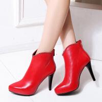 娜箐箐秋冬新款优雅头层牛皮尖头高跟女靴子细跟真皮短靴女鞋