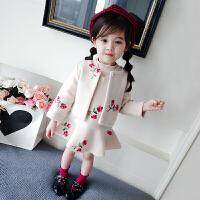 女童洋气呢大衣两件套秋冬女宝宝外套套装中小童上衣+背心裙