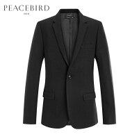 太平鸟男装 毛呢西装外套男黑色春季新款韩版便服休闲纯色单西服