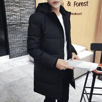 男士冬季连帽韩版修身中长款羽绒服新款青年外套男装